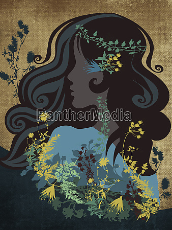 hippy woman with flowers and leaves