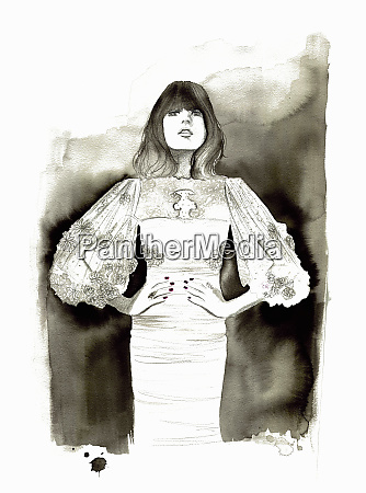 fashion illustration of woman wearing wide