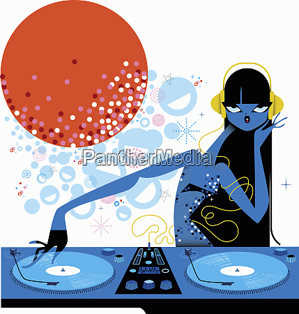female dj spinning records at turntable