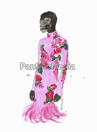 fashion illustration of woman wearing floral