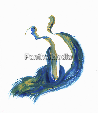 flowing silhouette of woman in blue