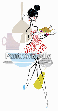 glamorous woman carrying serving platter with