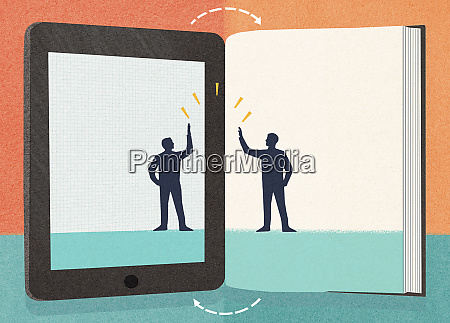 businessman on digital tablet high fiving