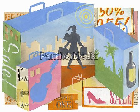 montage of woman on sales shopping