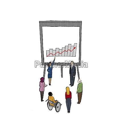 businesswoman explaining growth chart to people
