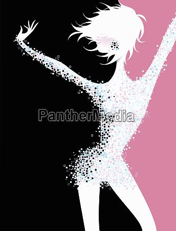 carefree woman dancing in pixelated dress