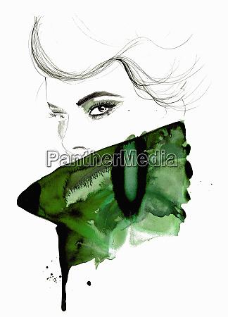 aquarell-illustration, von, mode-modell, mit, blick, auf - 26013560