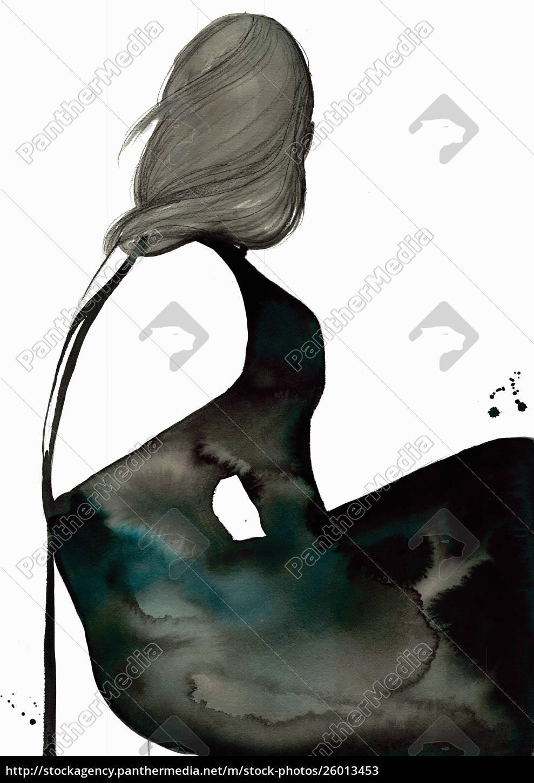 mode-illustration, von, frau, trägt, schwarzes, redenloses, abendkleid - 26013453