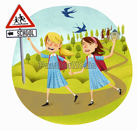 happy school girls leaving home waving