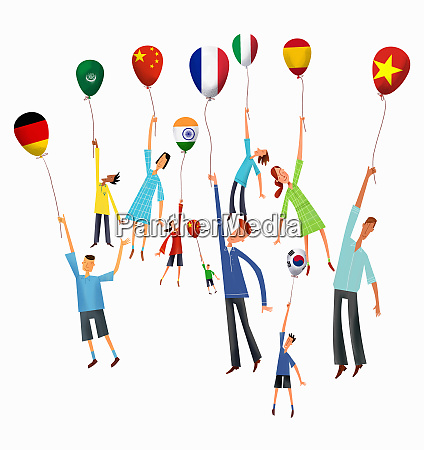 people rising holding international flag balloons