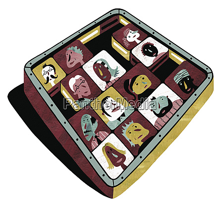 sliding square tile puzzle with faces