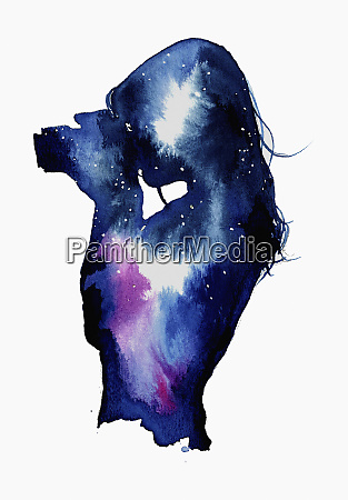 starry night sky over silhouette of