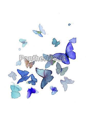 aquarellmalerei von leuchtend blauen schmetterlingen