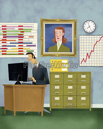 portrait of manager watching businessman working