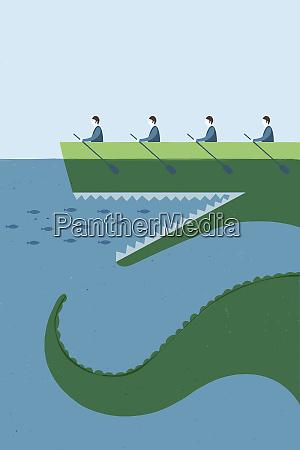 fische schwimmen in offenem mund von