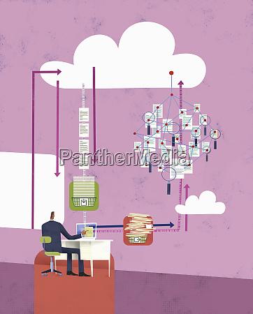 efficient businessman working on computer using
