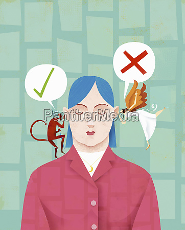 woman making decision with devil and