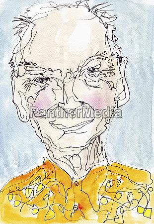 watercolor portrait of elderly man