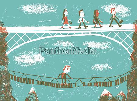 contrast between confident business people walking