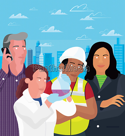 scientist construction worker and business people