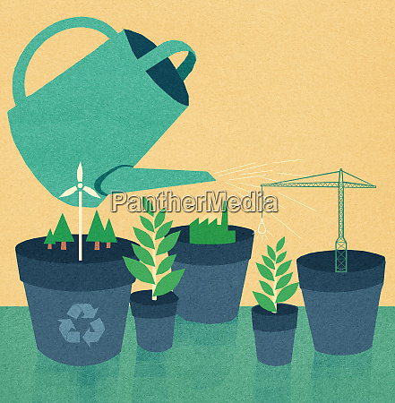 watering can nurturing the development of