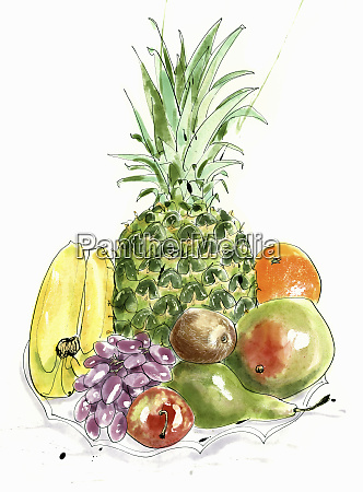 watercolor painting of pile of fresh