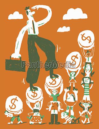 happy businessman climbing dollar coin staircase