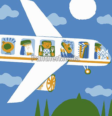 unhappy passenger on economy class airplane