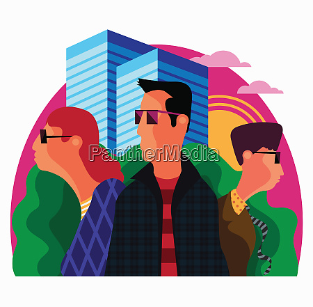 cool young people wearing sunglasses in