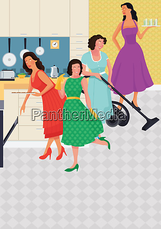 women as stereotypical housewives cooking and