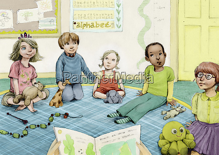 nursery school children listening to story
