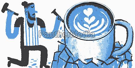 sculptor making large artisan coffee