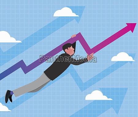 man flying on rising arrow line