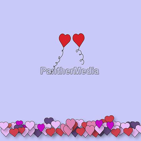 zwei valentinballons schwimmen zusammen