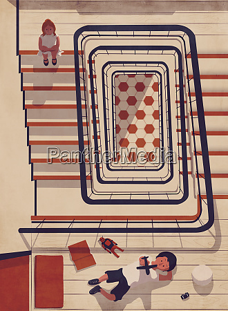 bored girl on staircase watching boy