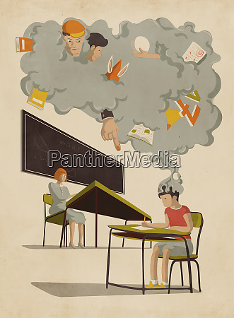 gray cloud of distractions over schoolboy