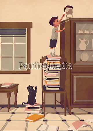 boy standing on pile of books