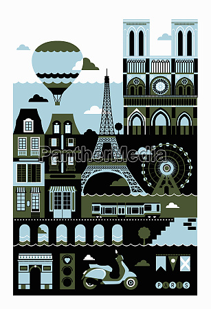 tourism montage of famous landmarks in