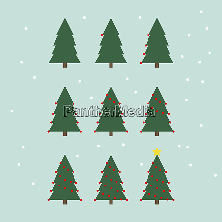 sequence showing christmas tree being decorated