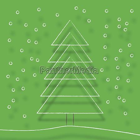 simple line drawing of christmas tree