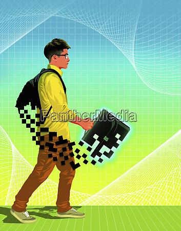 teenager mit pixeliger schultuete