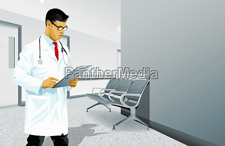 doctor reading medical record in hospital