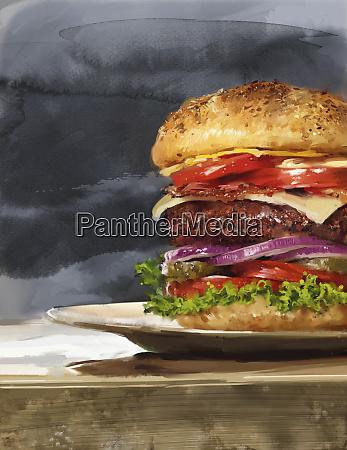 large hamburger with lots of layers