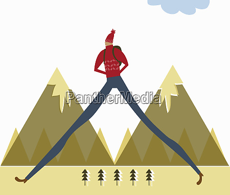 tall man with long legs hiking