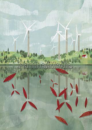 windturbinenschaufeln die als blaetter im see