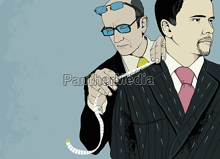 tailor measuring smart businessman for pinstripe