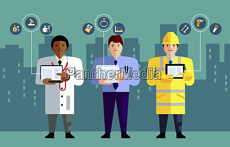 different professions using computer technology