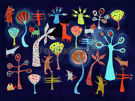 bright color childhood pattern of animals