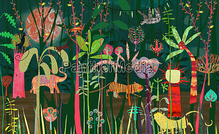 wild animals in lush bright color
