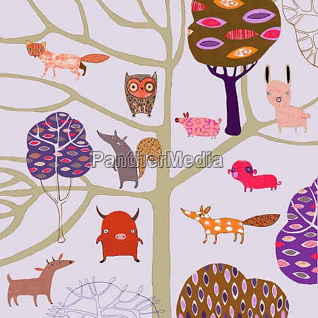 childhood pattern of countryside animals and